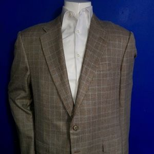 Hickey Freeman Tan Plaid Sport Coat Size 44XL